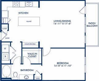 967 sq. ft. A8 floor plan
