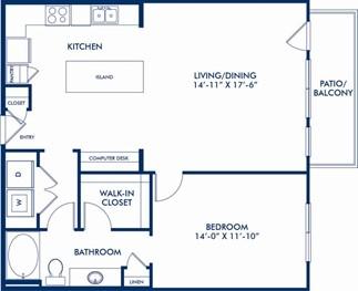967 sq. ft. Mews floor plan