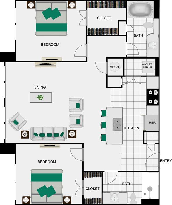 1,075 sq. ft. B9 floor plan