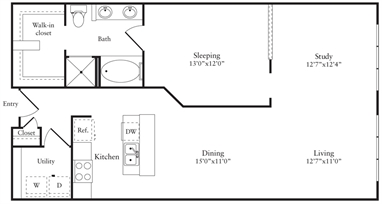 1,067 sq. ft. M floor plan