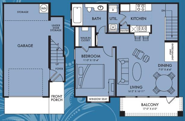 787 sq. ft. Aurora floor plan