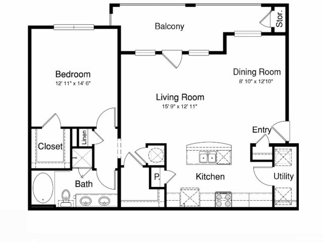 1,018 sq. ft. A3 floor plan
