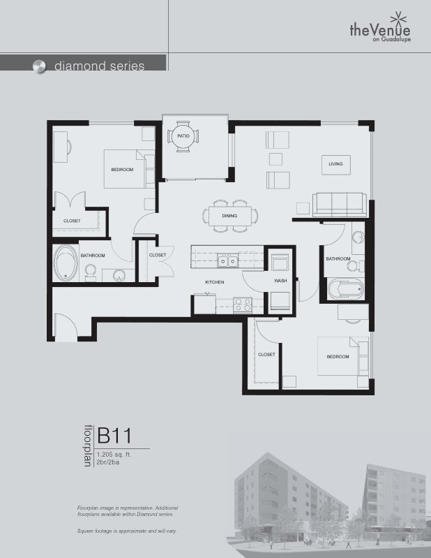 1,205 sq. ft. B11 floor plan