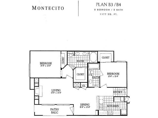 1,177 sq. ft. B3 floor plan