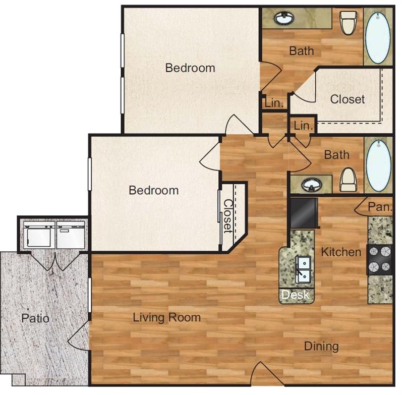 960 sq. ft. Mission floor plan