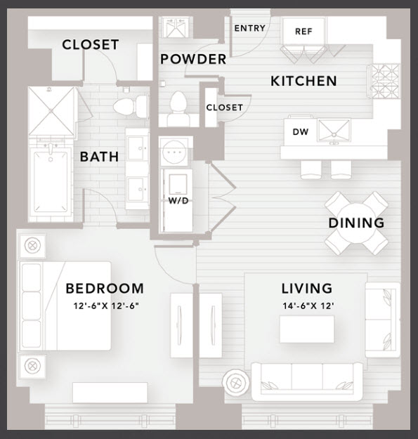 875 sq. ft. B1 floor plan