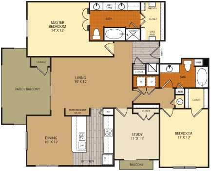 1,482 sq. ft. C1 floor plan