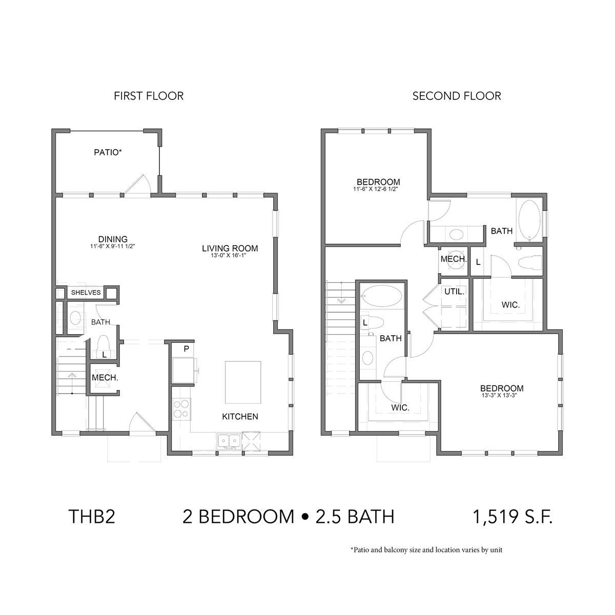 1,519 sq. ft. THB2 floor plan