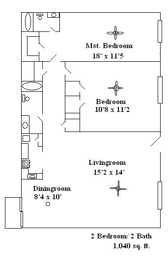 1,040 sq. ft. Ivy floor plan