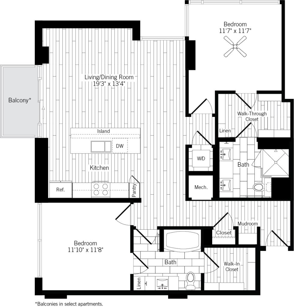 1,232 sq. ft. 2B floor plan
