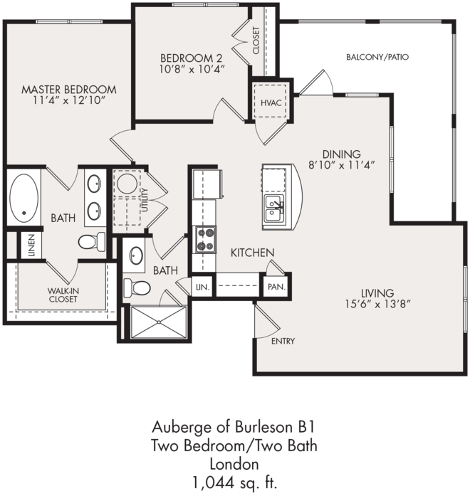1,044 sq. ft. floor plan