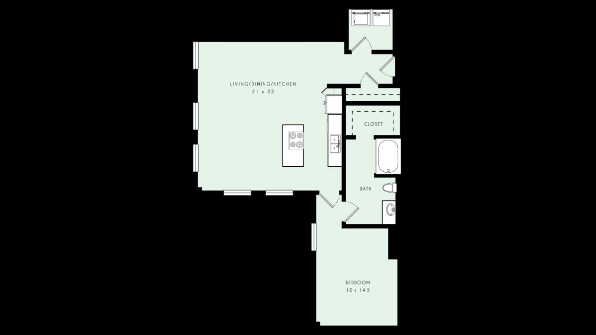 1,050 sq. ft. A24 MKT floor plan