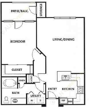 735 sq. ft. B floor plan