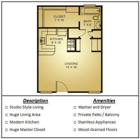 476 sq. ft. Mkt floor plan