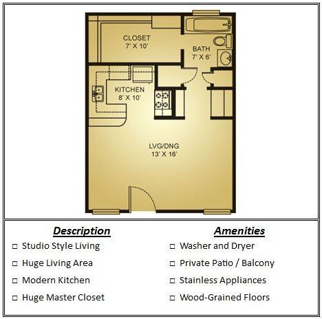 476 sq. ft. 80% floor plan