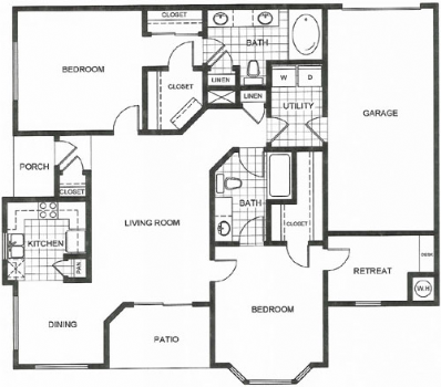 1,221 sq. ft. J1 floor plan