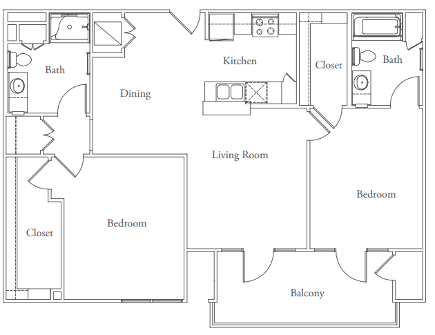 1,094 sq. ft. Ziker floor plan