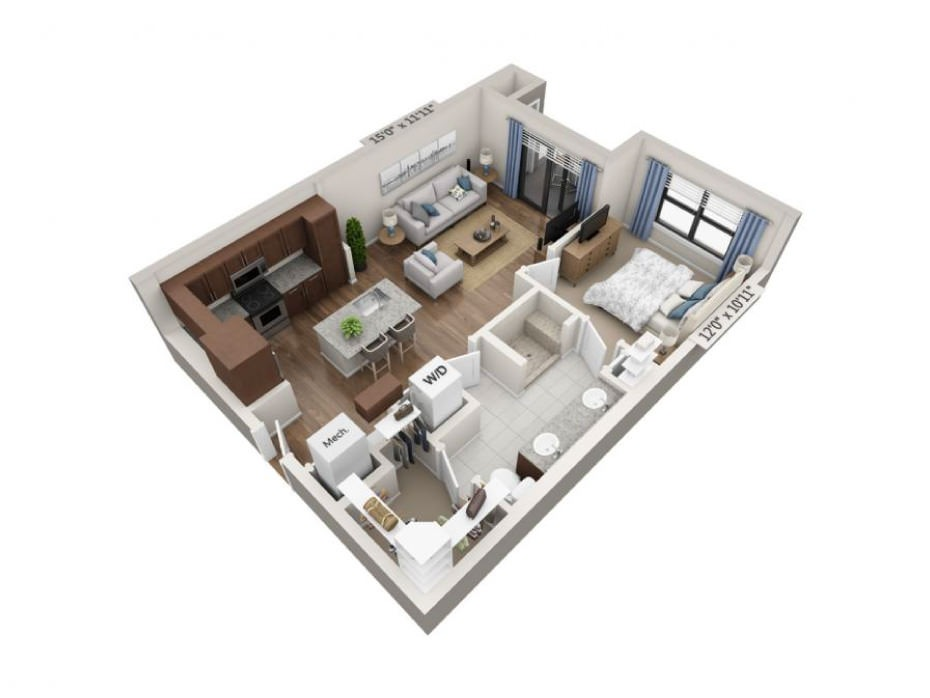 739 sq. ft. Cadence floor plan