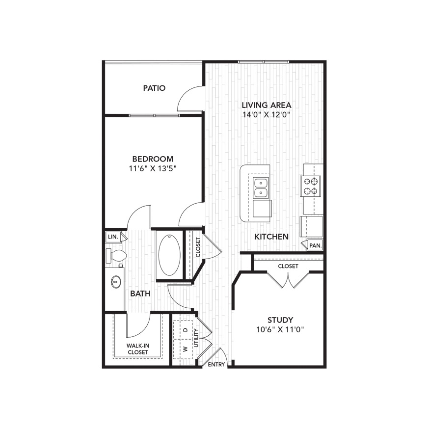 898 sq. ft. A5 floor plan