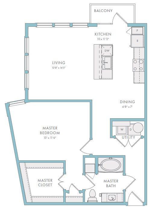 904 sq. ft. A1C floor plan
