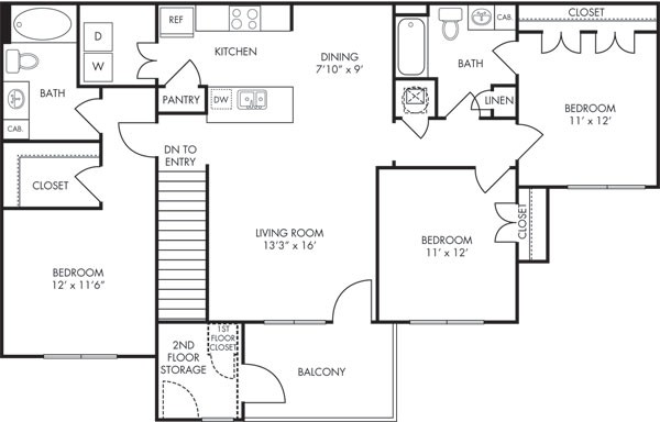 1,346 sq. ft. Santa Fe floor plan