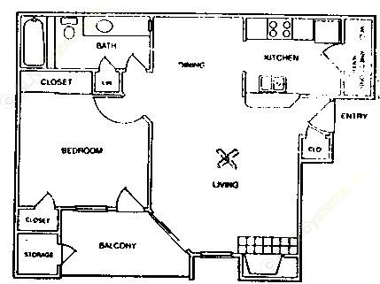706 sq. ft. A2-60% floor plan