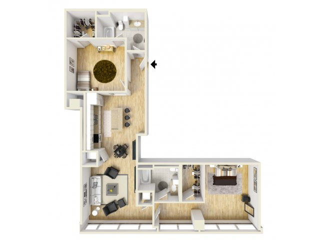 1,327 sq. ft. Pegasus floor plan