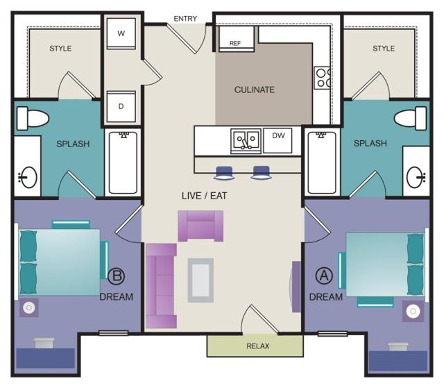844 sq. ft. B3 floor plan
