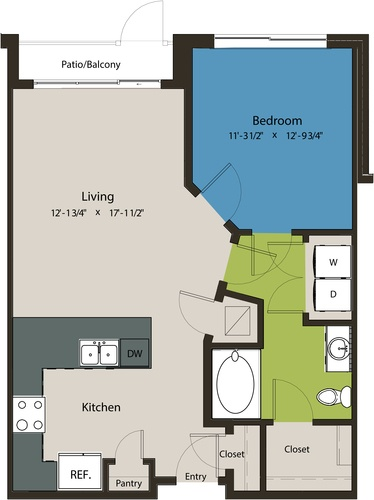757 sq. ft. A1G floor plan