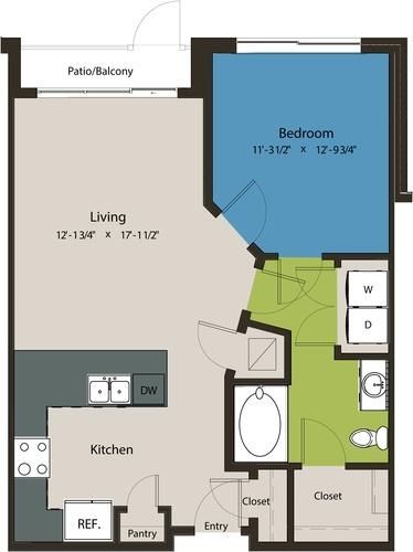 757 sq. ft. A1G floor plan