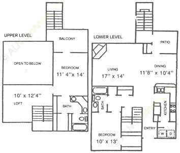 1,459 sq. ft. B2 floor plan