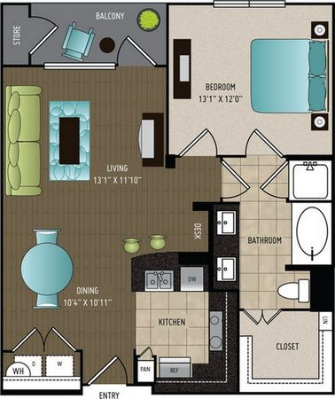 785 sq. ft. A4 floor plan