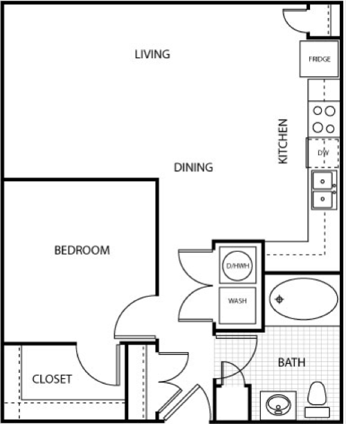698 sq. ft. A1-AL-II floor plan