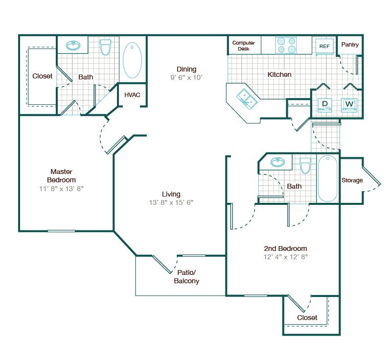 1,090 sq. ft. B2 floor plan
