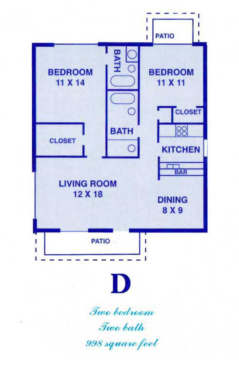 998 sq. ft. D floor plan