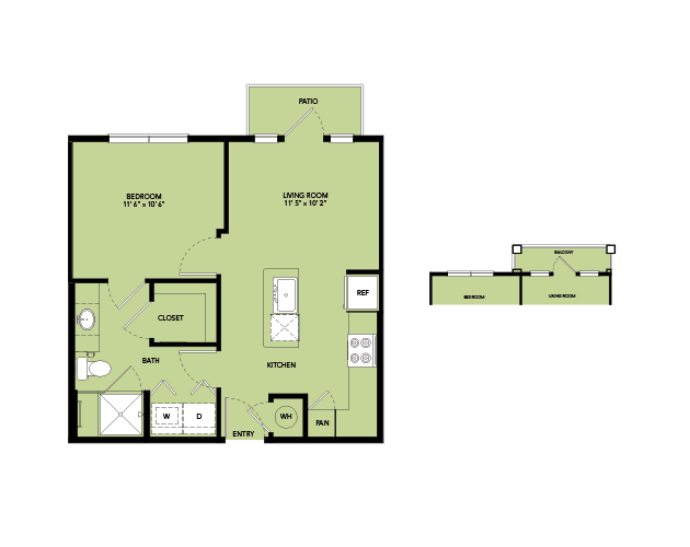 561 sq. ft. A1-S.6 floor plan