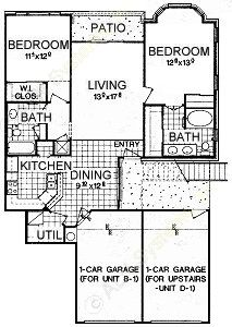 1,192 sq. ft. B1 floor plan