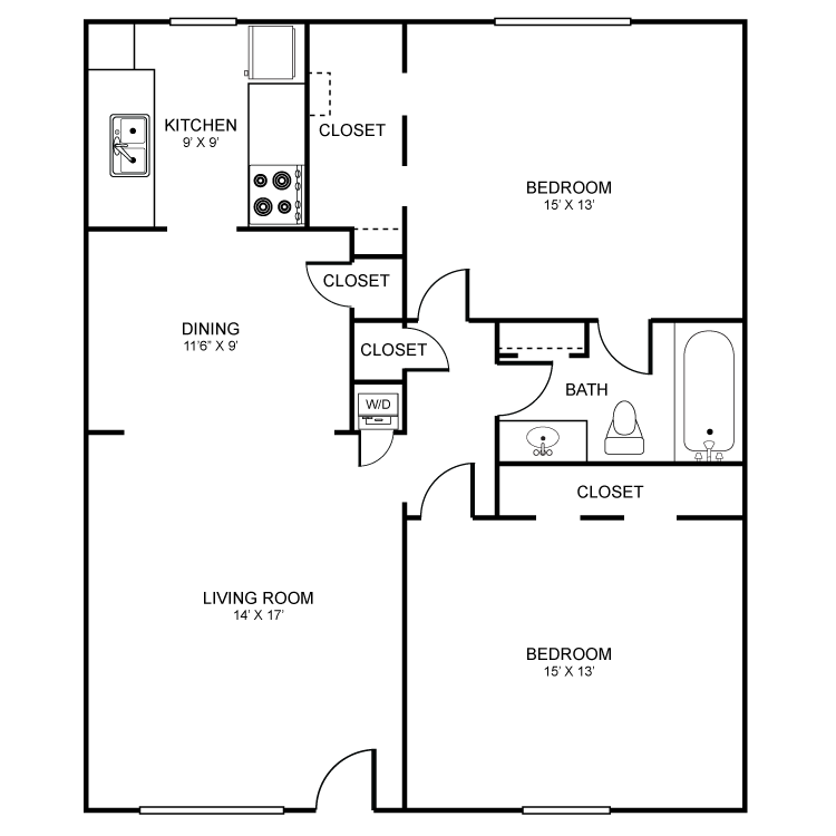 954 sq. ft. floor plan