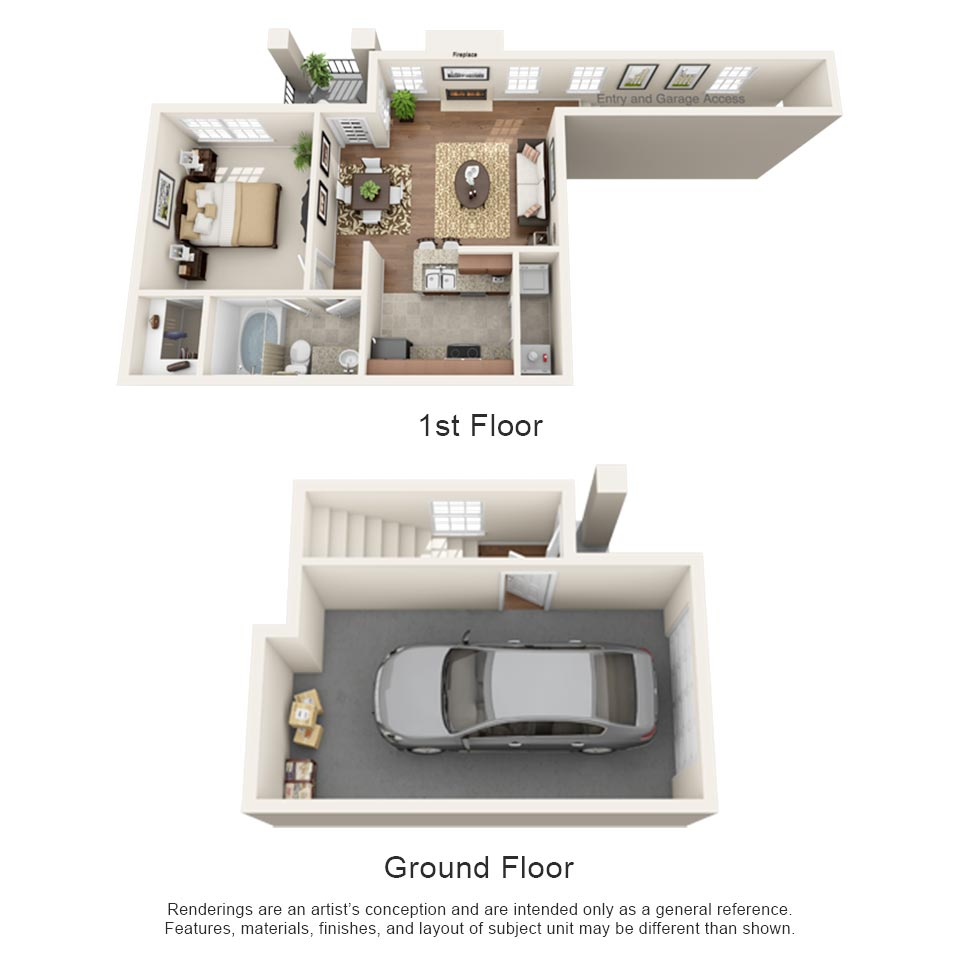 692 sq. ft. Napa floor plan