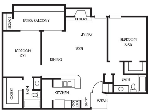 957 sq. ft. B9 floor plan