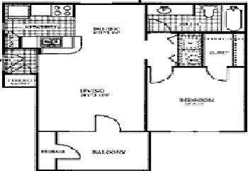 673 sq. ft. SLATE floor plan