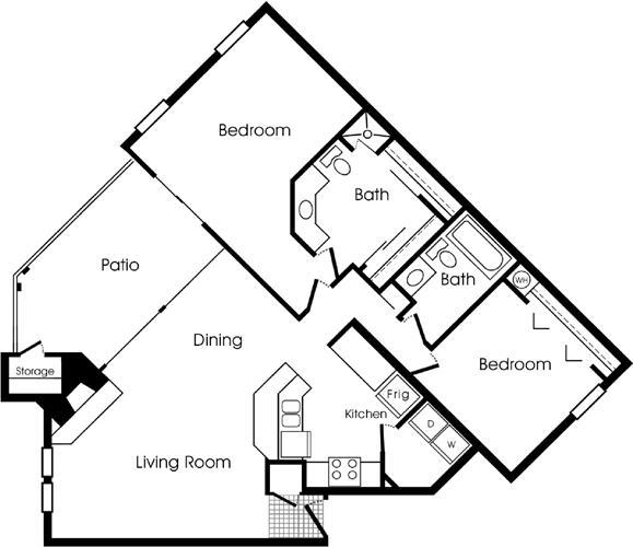 1,049 sq. ft. Hawthorne floor plan
