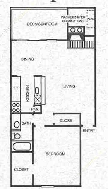 827 sq. ft. A6 floor plan