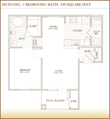 630 sq. ft. Mustang floor plan
