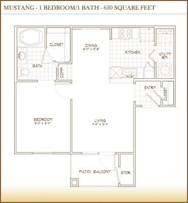 630 sq. ft. MUSTANG floor plan