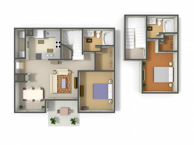 1,067 sq. ft. IXTAPA(Townhouse) (B3) floor plan
