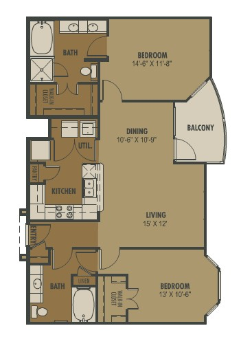 1,103 sq. ft. Sole floor plan