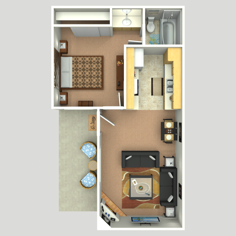 505 sq. ft. A1 floor plan