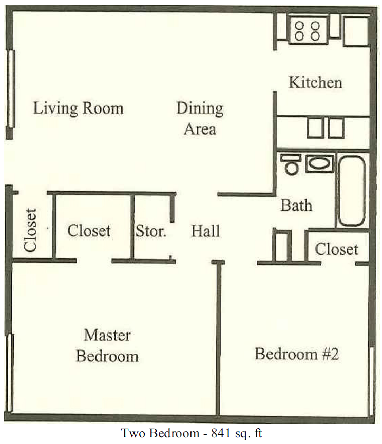 841 sq. ft. floor plan