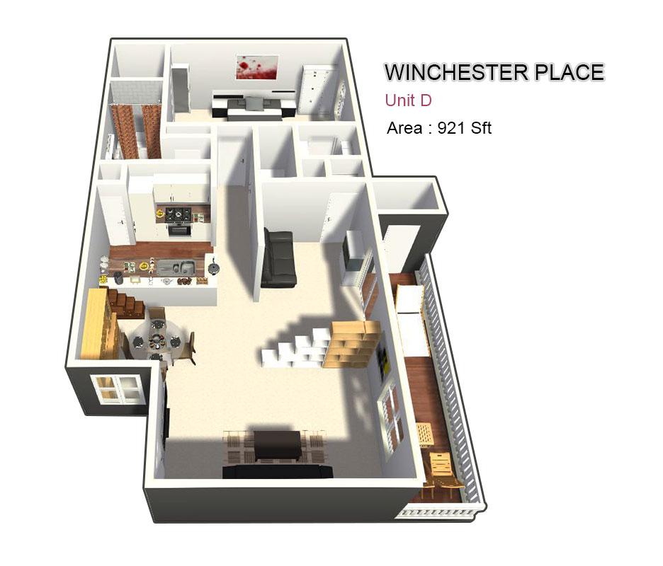 921 sq. ft. D floor plan